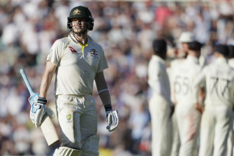 Steve Smith leaves the pitch after he was out lbw by Chris Woakes.