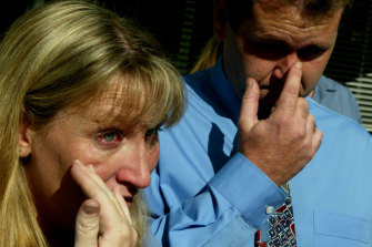 Devastated: Julie and Craig Calverley after an inquest into their daughter Rebecca's death in 2002 from meningococcal disease.