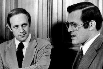 Dick Cheney (left), then deputy to White House chief of staff Donald Rumsfeld (right), in 1975.