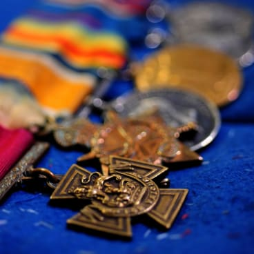The Victoria Cross and other medals awarded to Private Harry Dalziel.