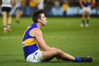 A dejected Elliot Yeo after losing the semi-final to Geelong.