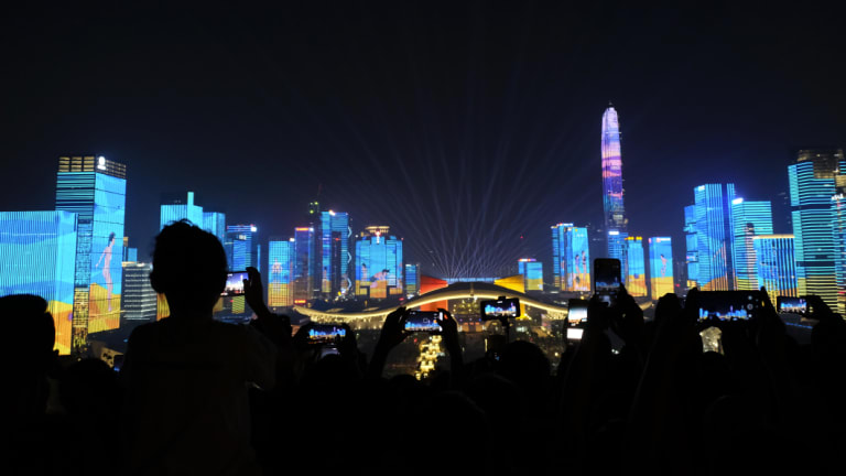 Shenzhen in China has been transformed from fishing village to the country's Silicon Valley. Here, bulidings in the city were lit up to celebrate the 40th anniversary of economic reform in China.