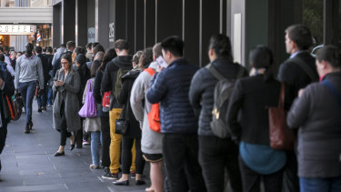 The long queue outside a pre-polling centre in Melbourne's CBD on Wednesday.