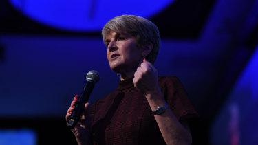 Former foreign minister Julie Bishop speaks at the QUT Business Leaders' Forum in Brisbane.
