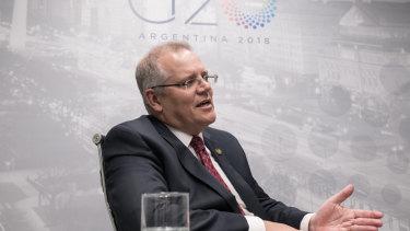 Treasurer Scott Morrison speaks to the media on the sidelines of the G20 meeting.