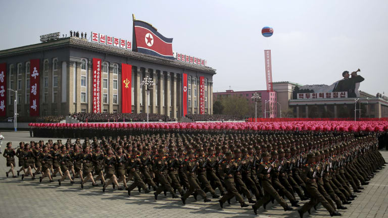 North Korean soldiers march across Kim Il-sung Square during a military parade in Pyongyang, to celebrate the 105th birth anniversary of Kim Il-sung, the country's late founder and grandfather of current ruler Kim Jong-un.