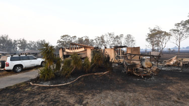 A home destroyed by a bushfire in Laidley. Lockyer Valley Mayor Tanya Milligan says any rain relief will be welcome.