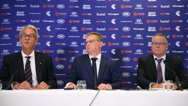 FFA chief executive David Gallop, chairman Chris Nikou and A-League boss Greg O'Rourke.