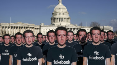 April 2018: Cardboard cutouts of Mark Zuckerberg, the chief executive of Facebook, outside the US Capitol as he testified at a Senate hearing about the company's practices.