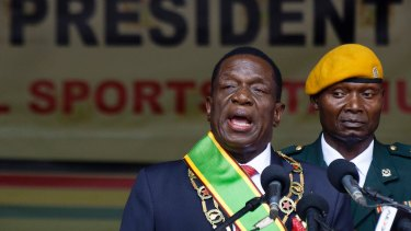 Zimbabwe's President Emmerson Mnangagwa speaks after being sworn in at the presidential inauguration ceremony in Harare in November 2107.