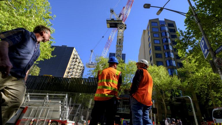 Crane operator falls at Melbourne CBD construction site