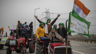 Farmers at a protest against new farm laws at Ghaziabad, outskirts of New Delhi