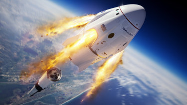 An illustration depicts the company's Crew Dragon capsule and Falcon 9 rocket during the uncrewed In-Flight Abort Test for NASA's Commercial Crew Program.