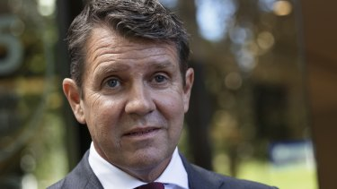 Former NSW Premier Mike Baird after giving evidence at ICAC in Sydney on Wednesday.
