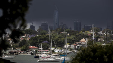 Storm clouds gathered over Sydney on Saturday, bringing heavy rainfall and hail.