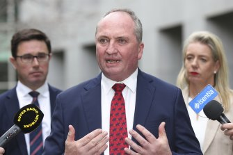 Barnaby Joyce speaking as re-elected leader after the vote.
