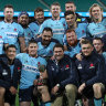 The Waratahs pose with the trophy during the round six Super Rugby AU match between the Waratahs and the Reds at Sydney Cricket Ground on August 08, 2020 in Sydney, Australia.