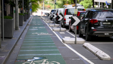 Separated bike lanes on Exhibition Street in the CBD. The City of Melbourne is installing 40km of bike lanes.
