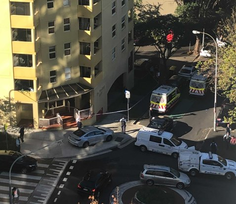 Emergency services on the scene of the alleged assault in Rushcutters Bay.