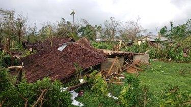 A destroyed building in Luganville, Vanuatu.