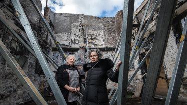 Liz Jones and Judith Lucy in the ruins of La Mama theatre.