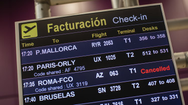 A canceled flight listed at Adolfo Suarez-Barajas international airport on the outskirts of Madrid, Spain.