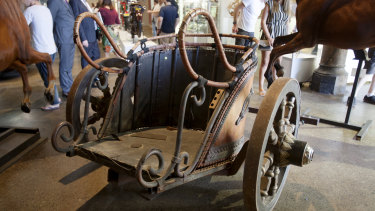 A fully functioning replica Roman chariot from the film <em>Gladiator</em>  sold for $65,000 at Russell Crowe's auction at Carriageworks on Saturday night.