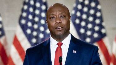Senator Tim Scott, a Republican from South Carolina, speaks during the Republican National Convention.