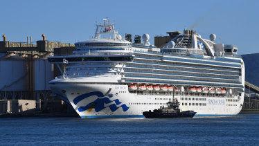 The Ruby Princess docks at Port Kembla, Wollongong, on Monday.
