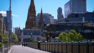 Melbourne CBD is pictured this week, deep in its sixth lockdown.