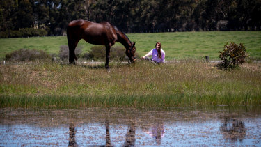 Living the dream: retired racehorse Grand Dreamer with Nikki Cook.
