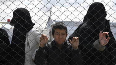 Foreign Islamic State wives and children at al-Hawl camp in northern Syria.