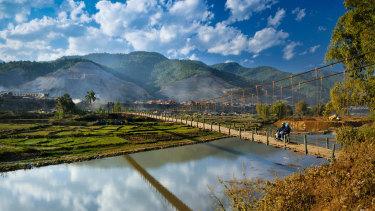 Suspension bridge in the Mai Chau Valley.