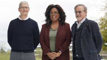 Tim Cook, Oprah Winfrey and Steven Spielberg at the event.