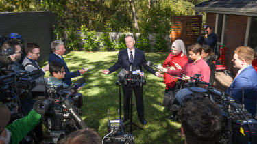 Bill Shorten during his first press conference of the campaign.