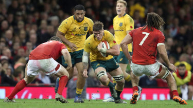 Sean McMahon takes the ball into contact in Australia's November tour Test against Wales in 2017.