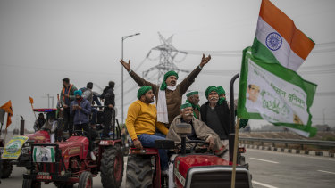 Farmers at a protest against new farm laws at Ghaziabad, on the outskirts of New Delhi.