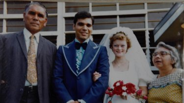 A picture from their wedding day in 1977 showing Jennifer Mundine with Warren Mundine and his parents.