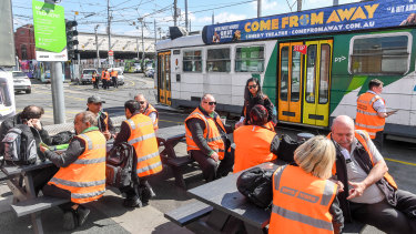 Melbourne tram drivers on strike at the Malvern tram depot in 2019.