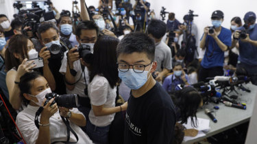 Hong Kong pro-democracy activist Joshua Wong at a press conference on Friday.
