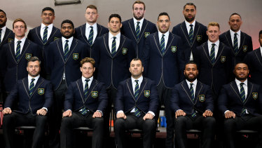 Cheika with the Wallabies 31-man squad on Friday.