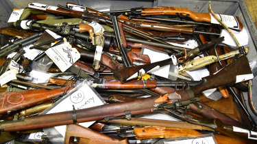A collection of Queensland firearms handed in as part of the national gun amnesty.