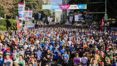And they're off:  Runners at the starting line near Hyde Park in last year's City2Surf.