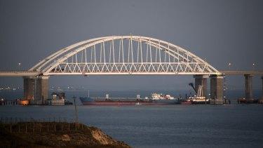 The Kerch bridge is blocked for ships in Crimea.