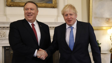 US Secretary of State Mike Pompeo with UK Prime Minister Boris Johnson. The US has repeatedly refused to extradite Sacoolas.