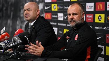 Wanderers chief executive John Tsatsimas and caretaker head coach Jean Paul de Marigny on Monday.