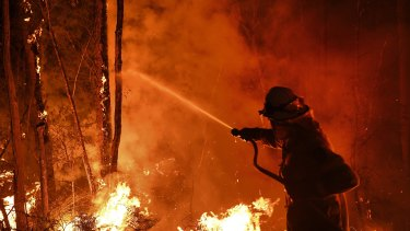 A firefighter works through the night to prevent a blaze crossing the Kings Highway between Nelligen and Batemans Bay, on the NSW South Coast, on January 2.
