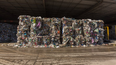Bales of waste bound at SKM's Laverton North recycling centre. Much of the waste ended up in landfill.