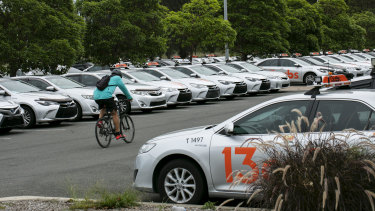 Cabs with their number plates removed sit idle in Tempe Reserve during coronavirus lockdown in April.
