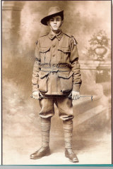 Bernard Haines, of Melbourne, joined up age 15, was badly injured in battle in France in 1917 and died in Caulfield Hospital in 1926 after 41 operations.